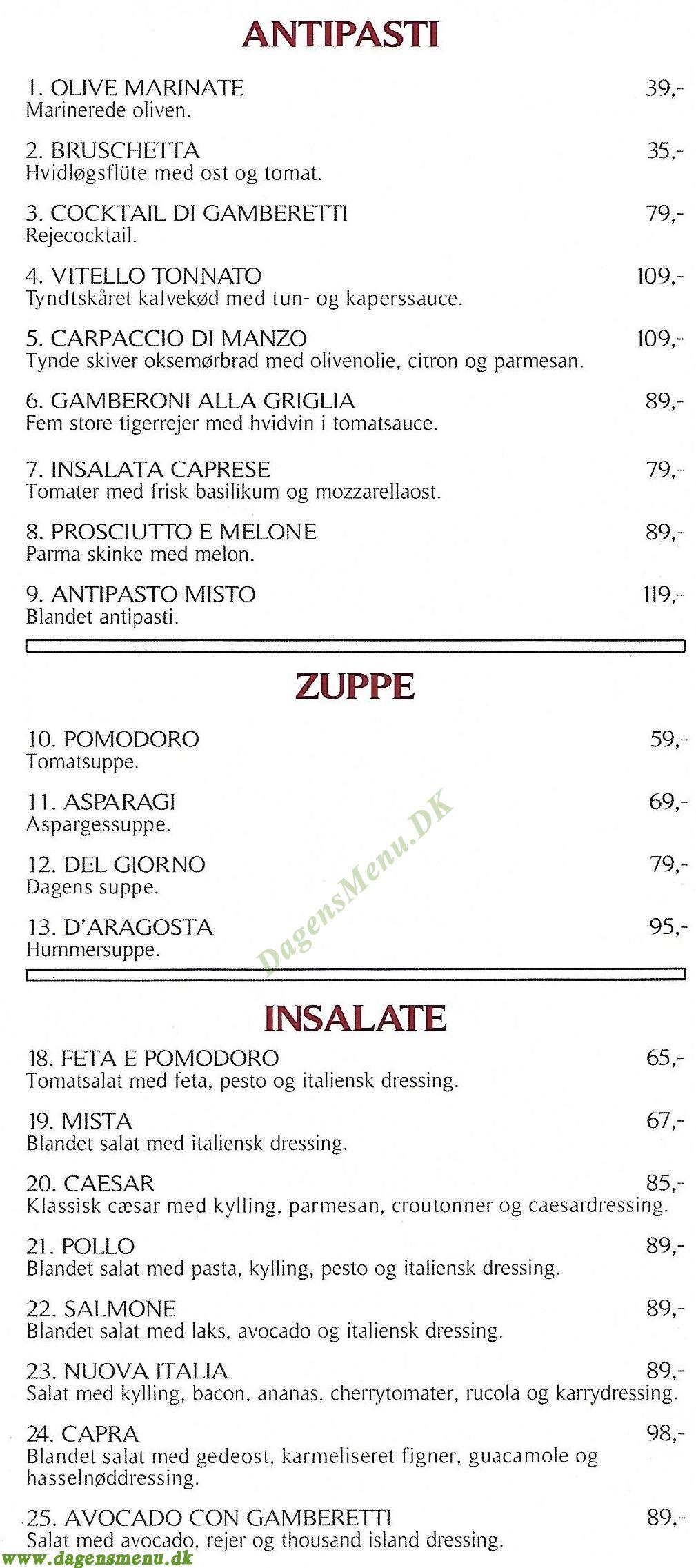 Restaurant Nuova Italia - Menukort
