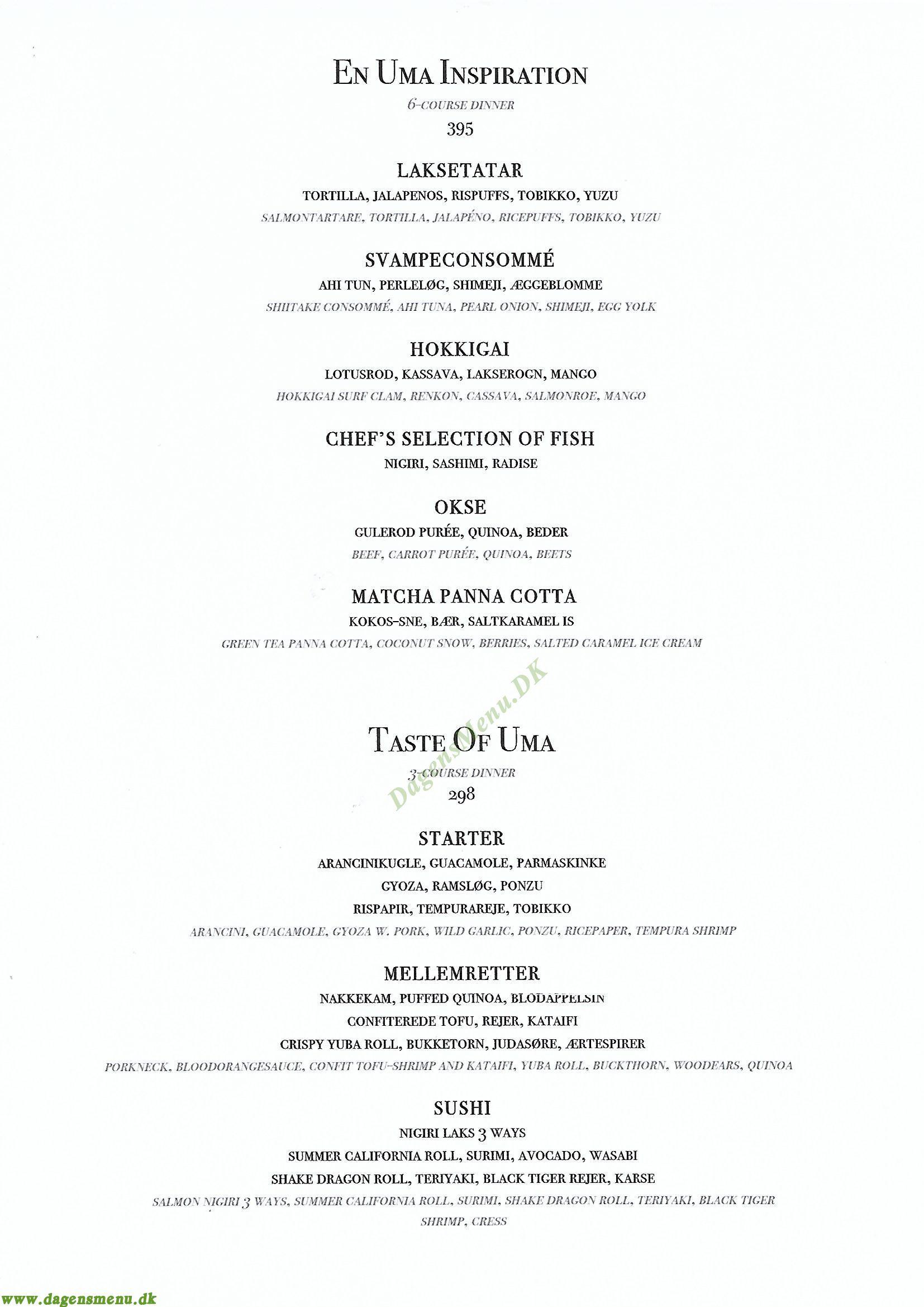 Restaurant Uma - Menukort