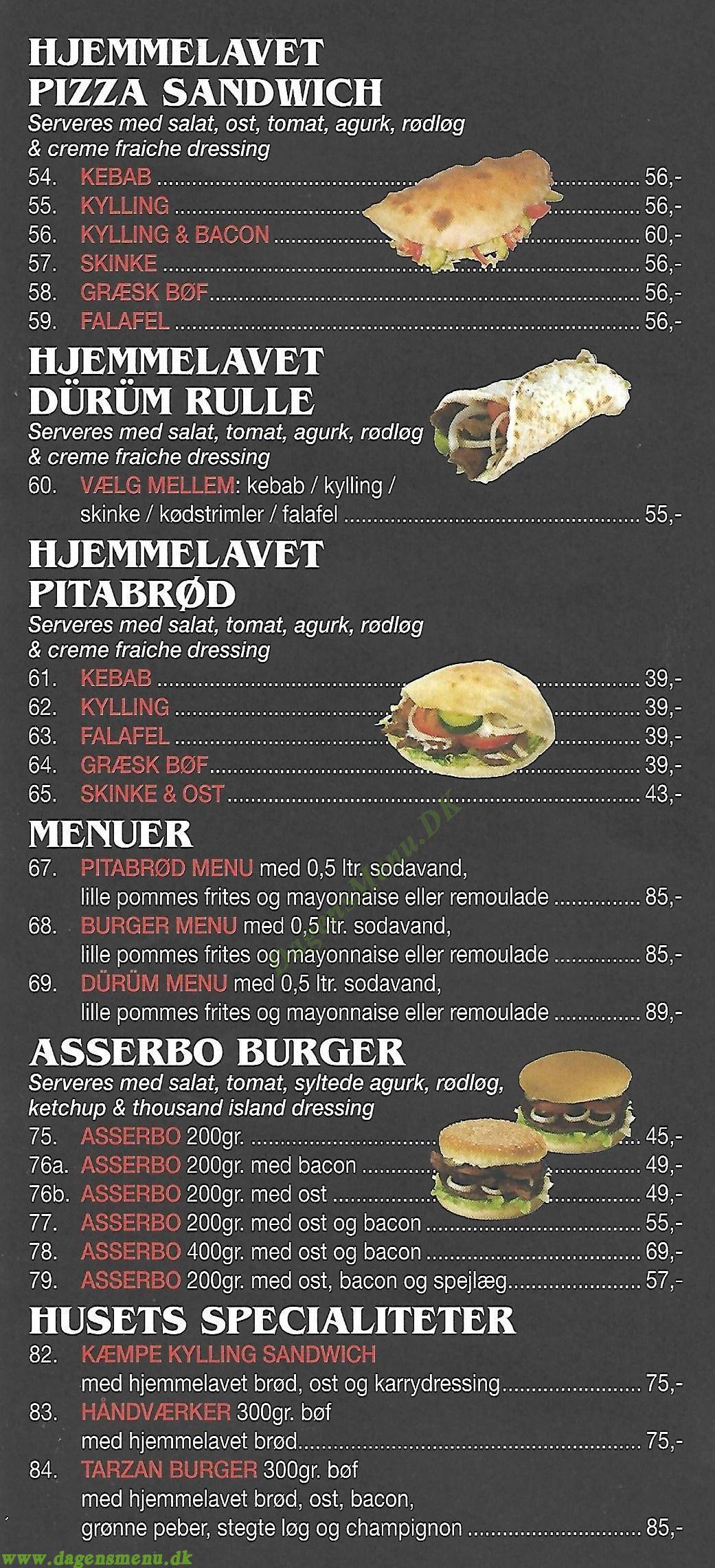 Asserbo Grill & Pizza - Menukort