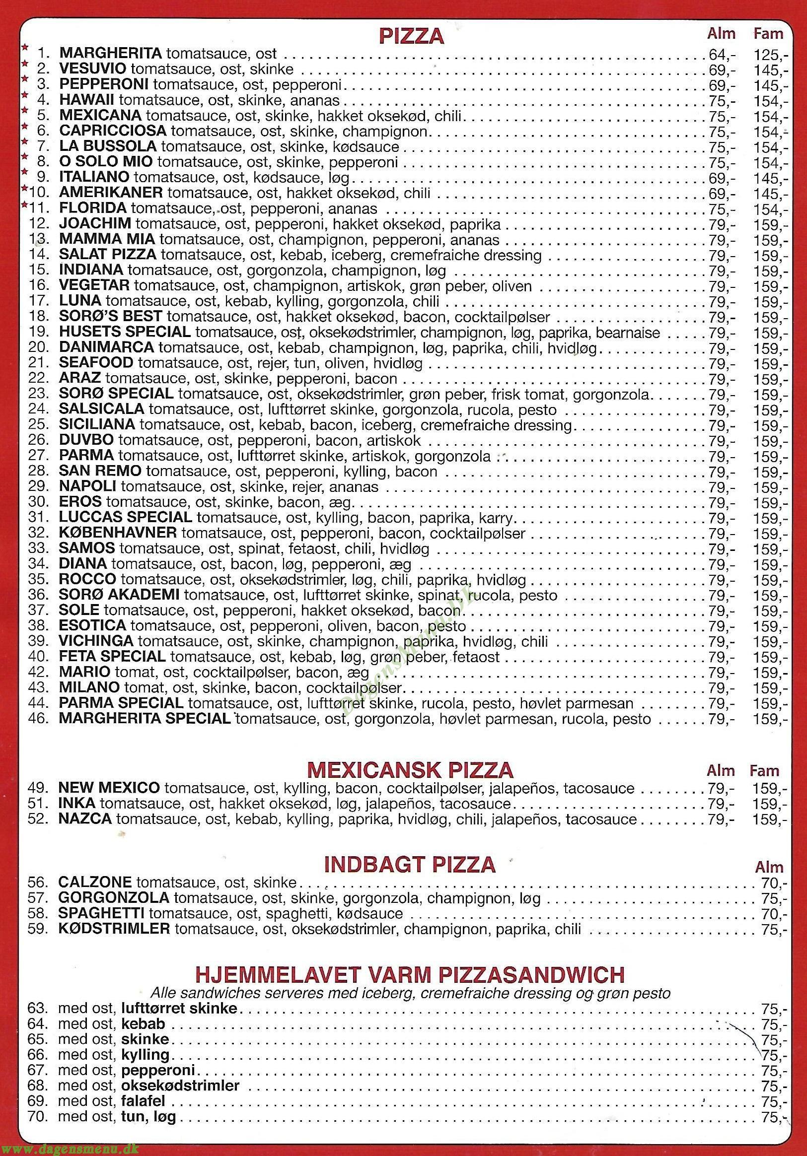 Cafe Luccas - Menukort