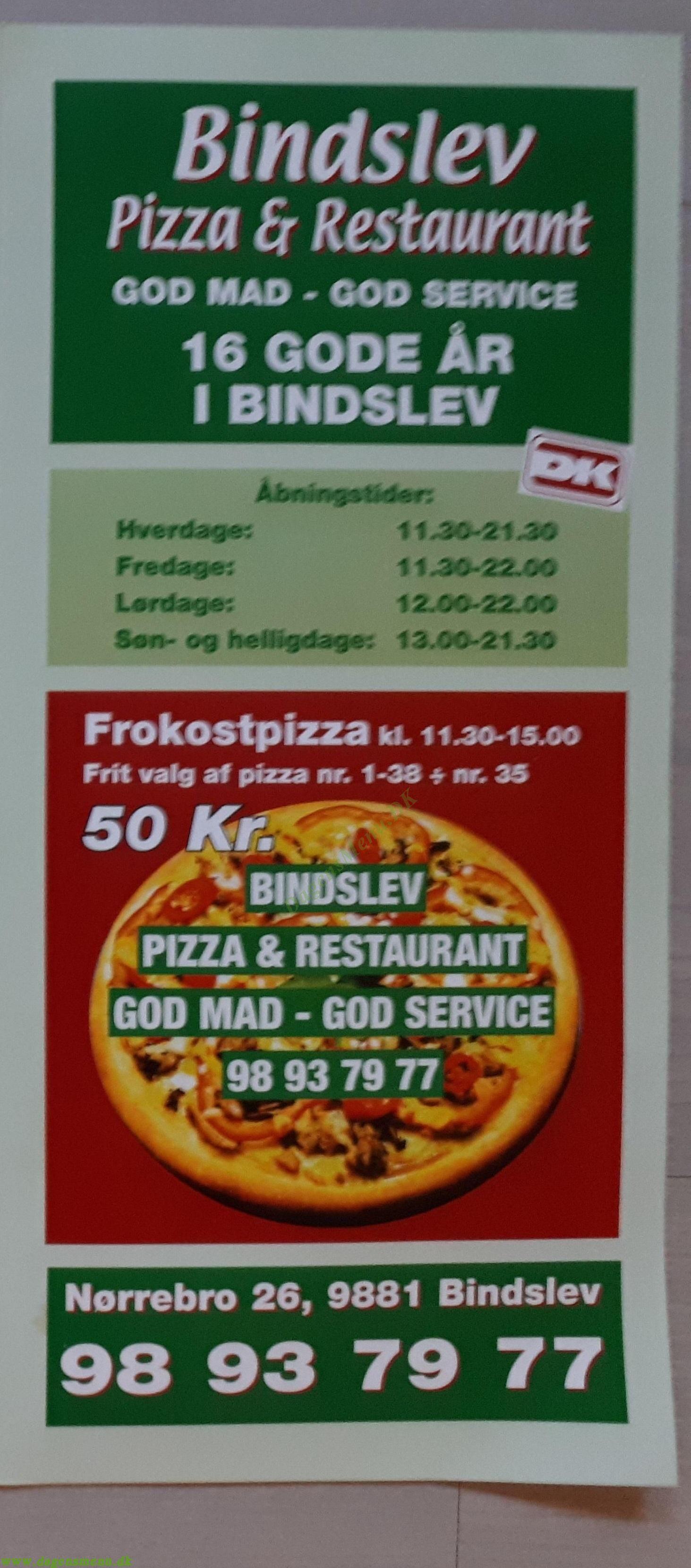 Bindslev Pizza - Menukort