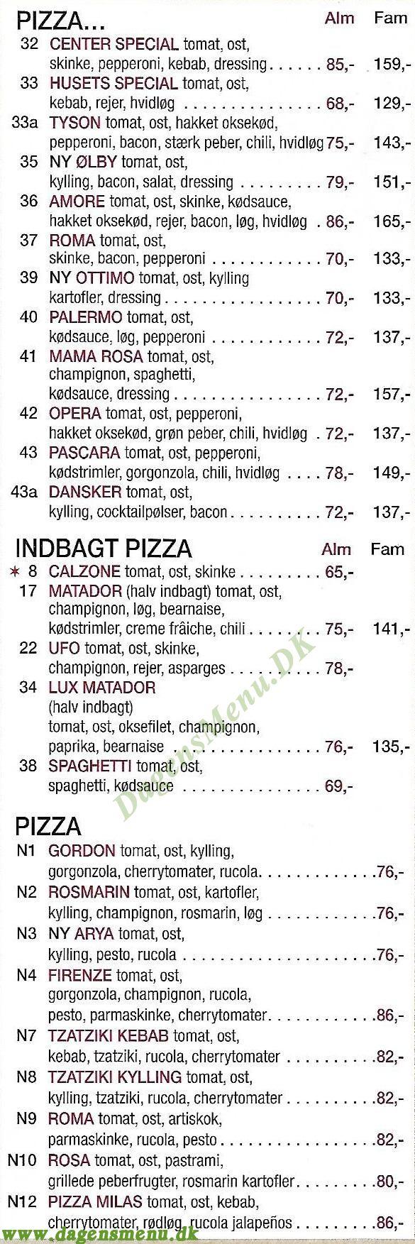 Milas Pizzabar - Menukort