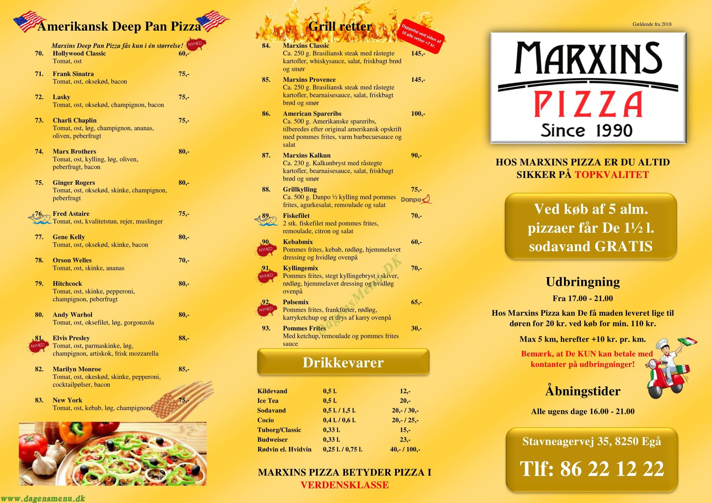 Marxins Pizza & Steak - Menukort