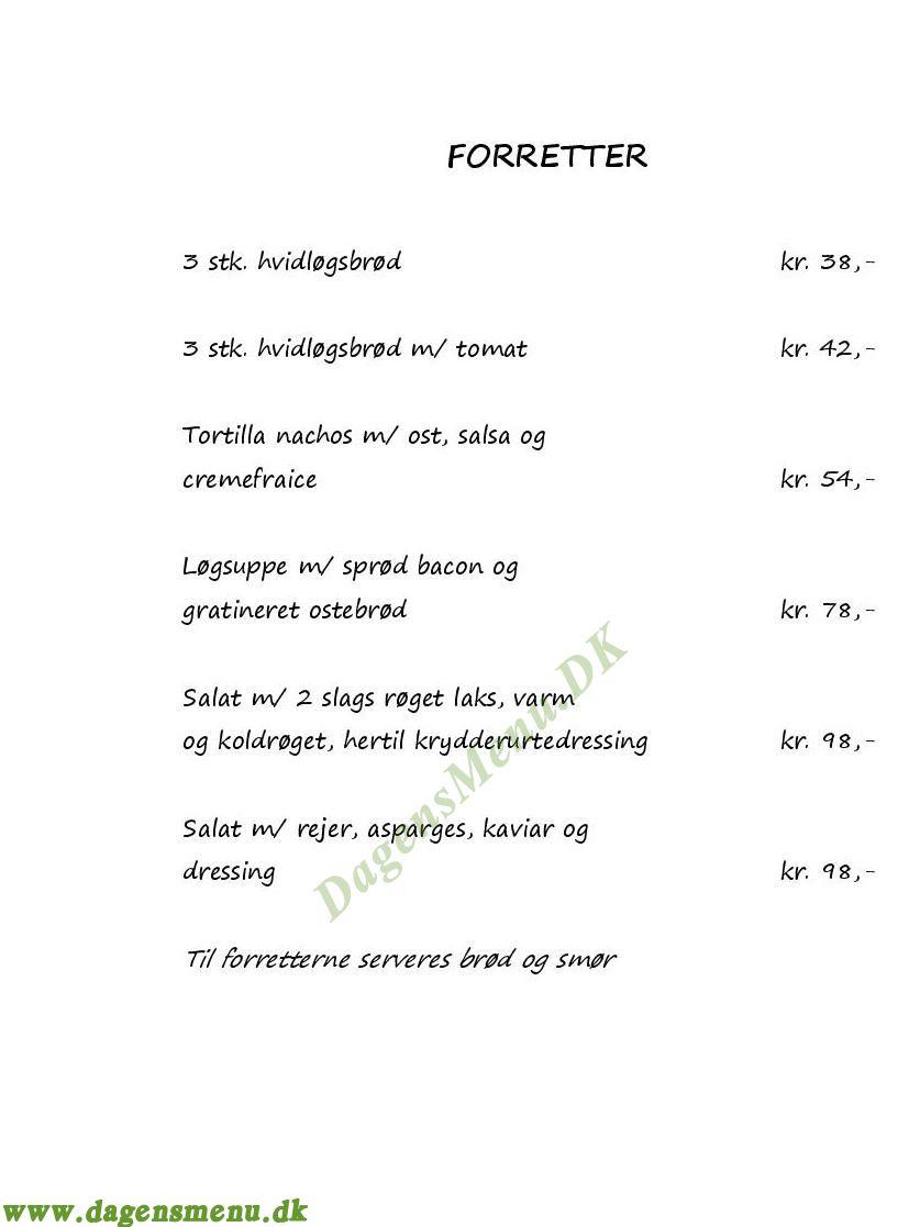 Restaurant Bondehuset - Menukort