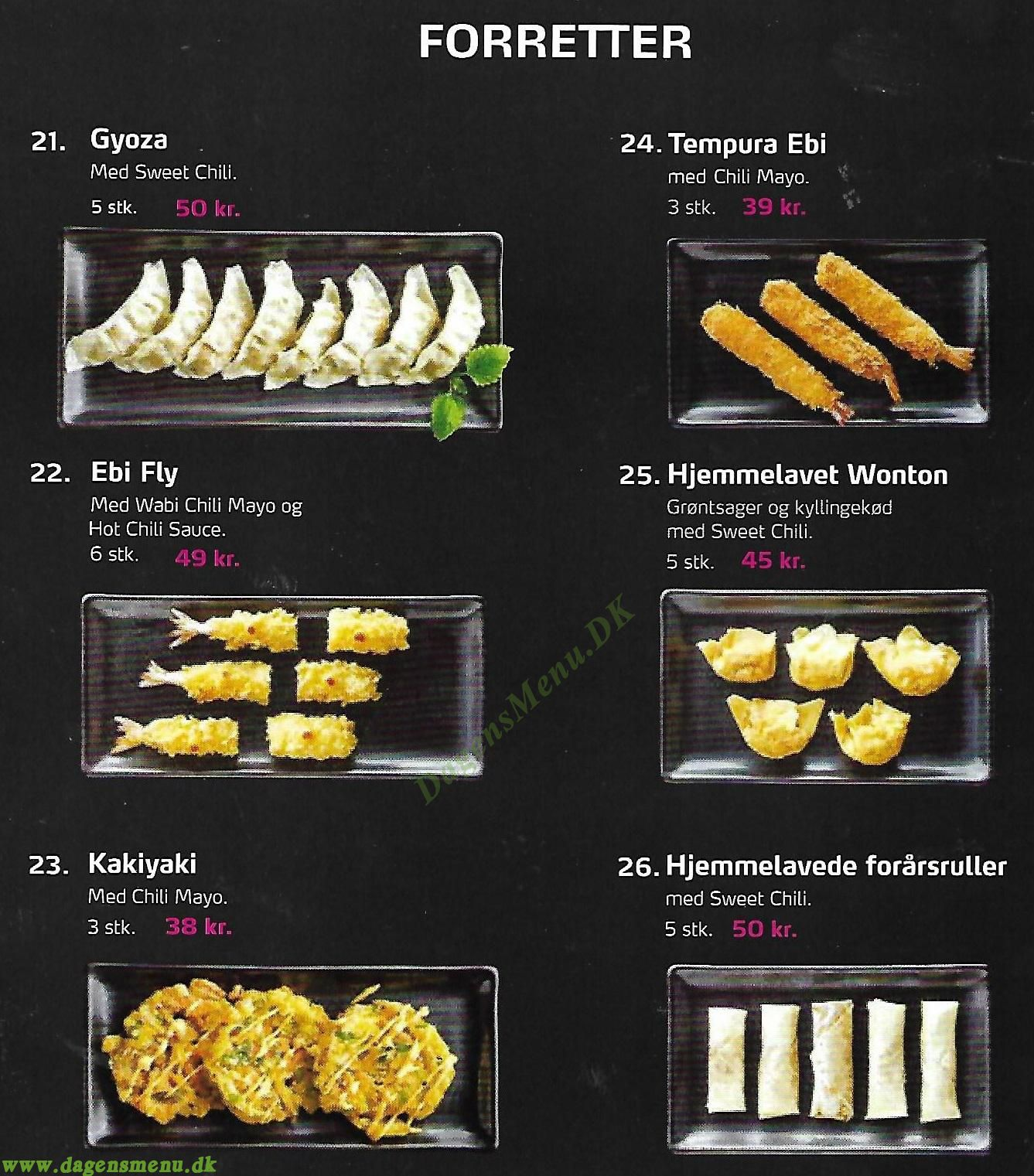 Yoku sushi - Menukort