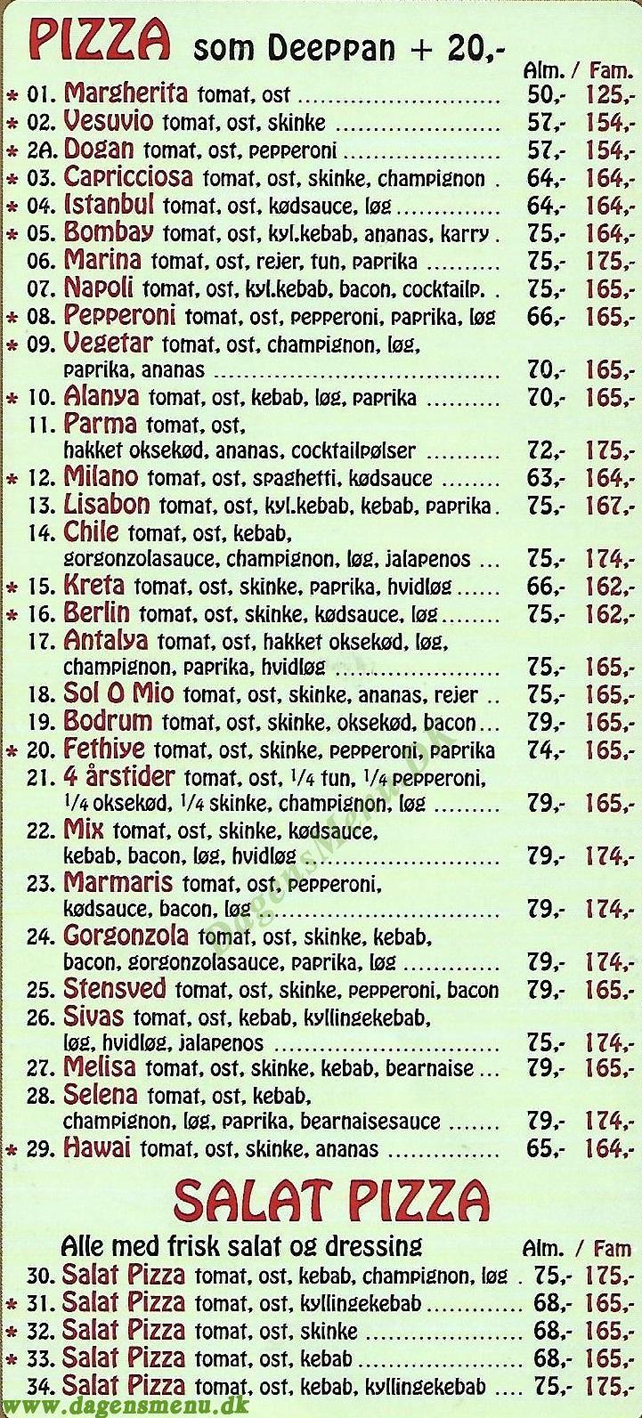 Stensved Grill & Pizza - Menukort
