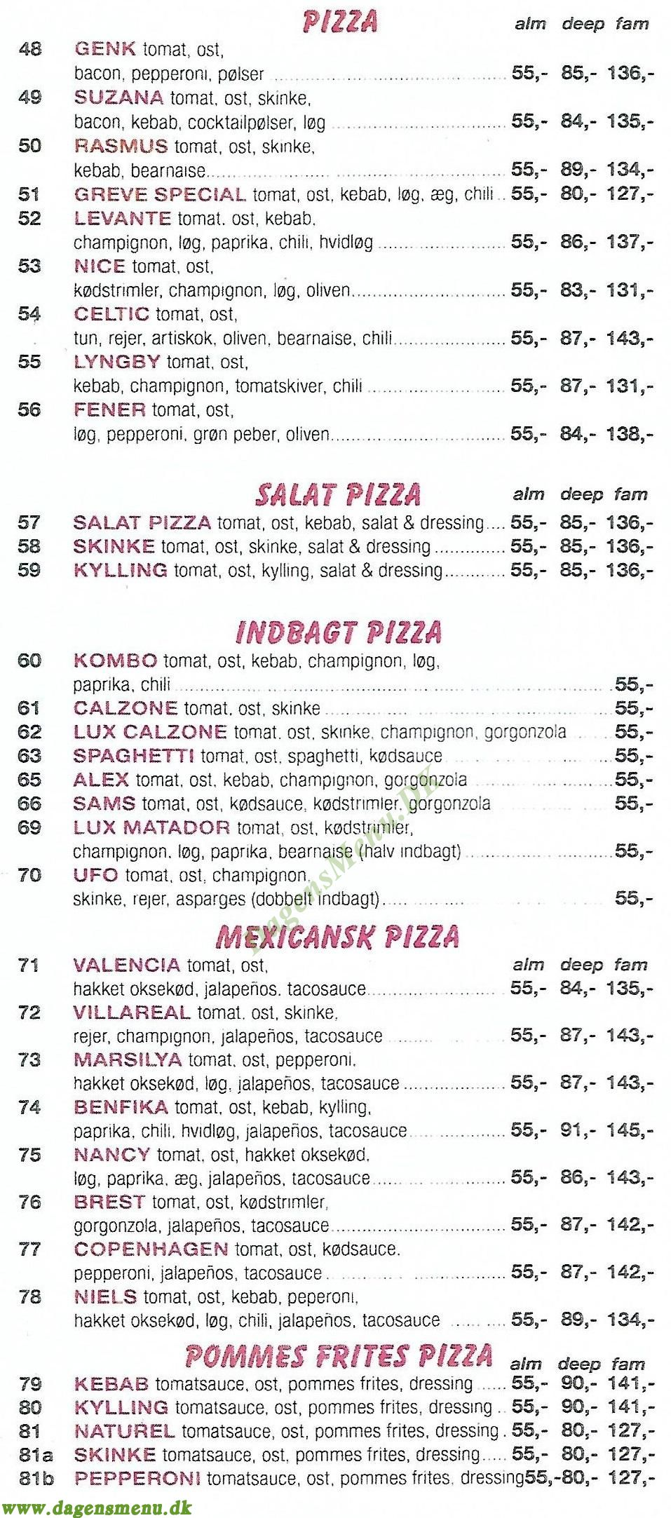 Amager Lucca's Pizza - Menukort