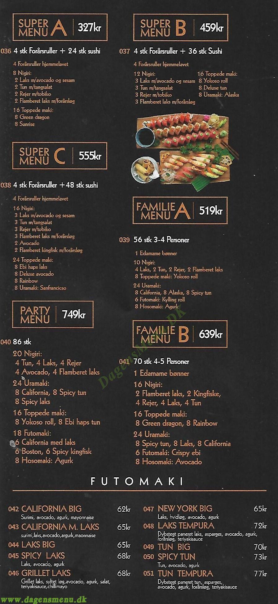 Yokoso Sushi - Amagerbrogade - Menukort
