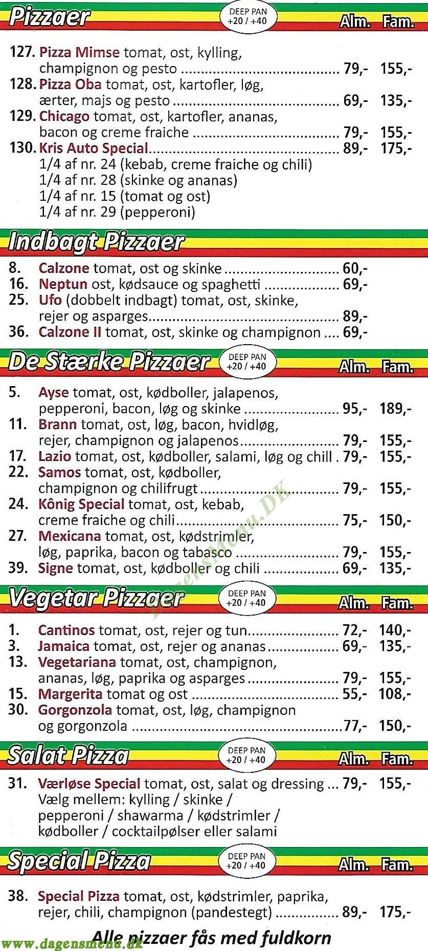 Cantinos Pizzaria Værløse - Menukort