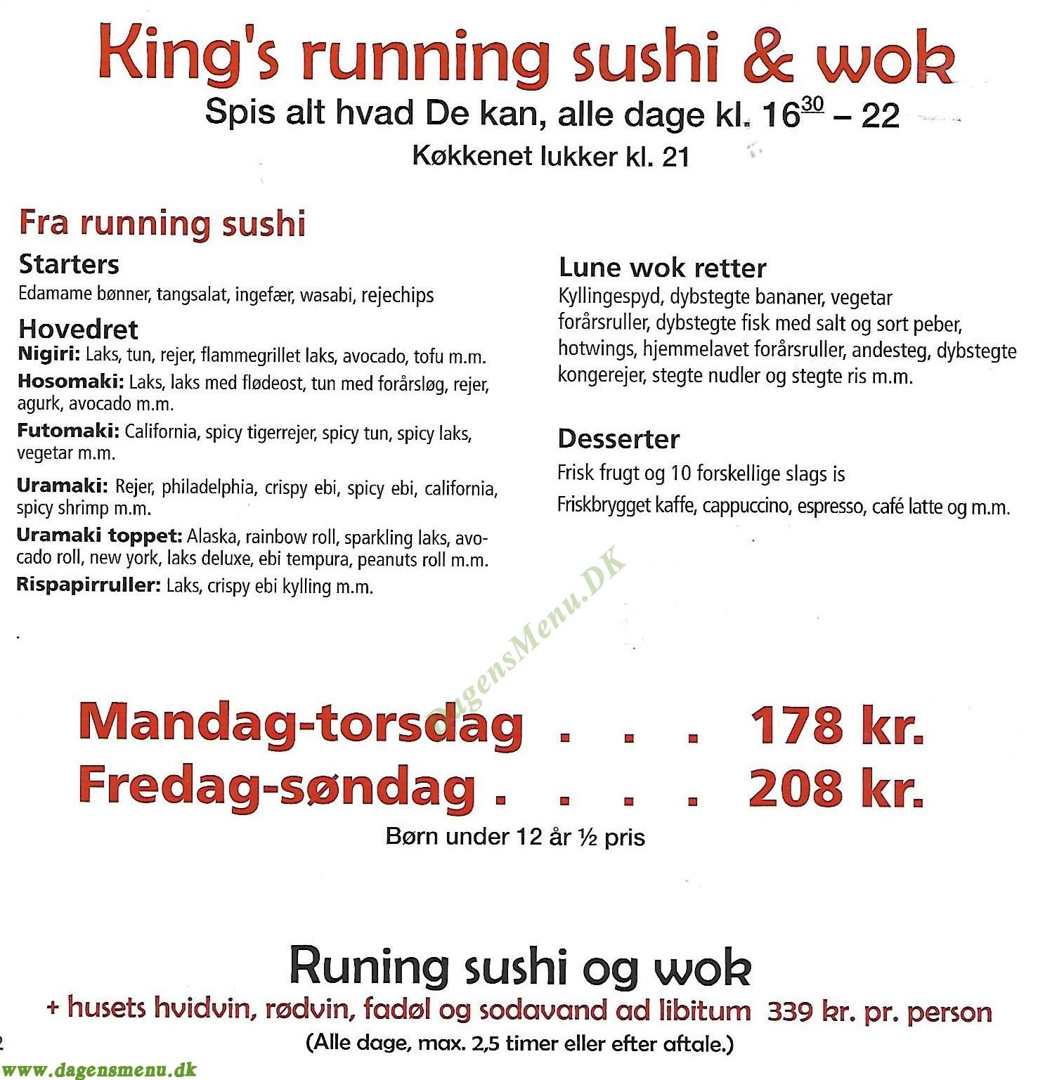Kings Running Sushi & Wok - Menukort