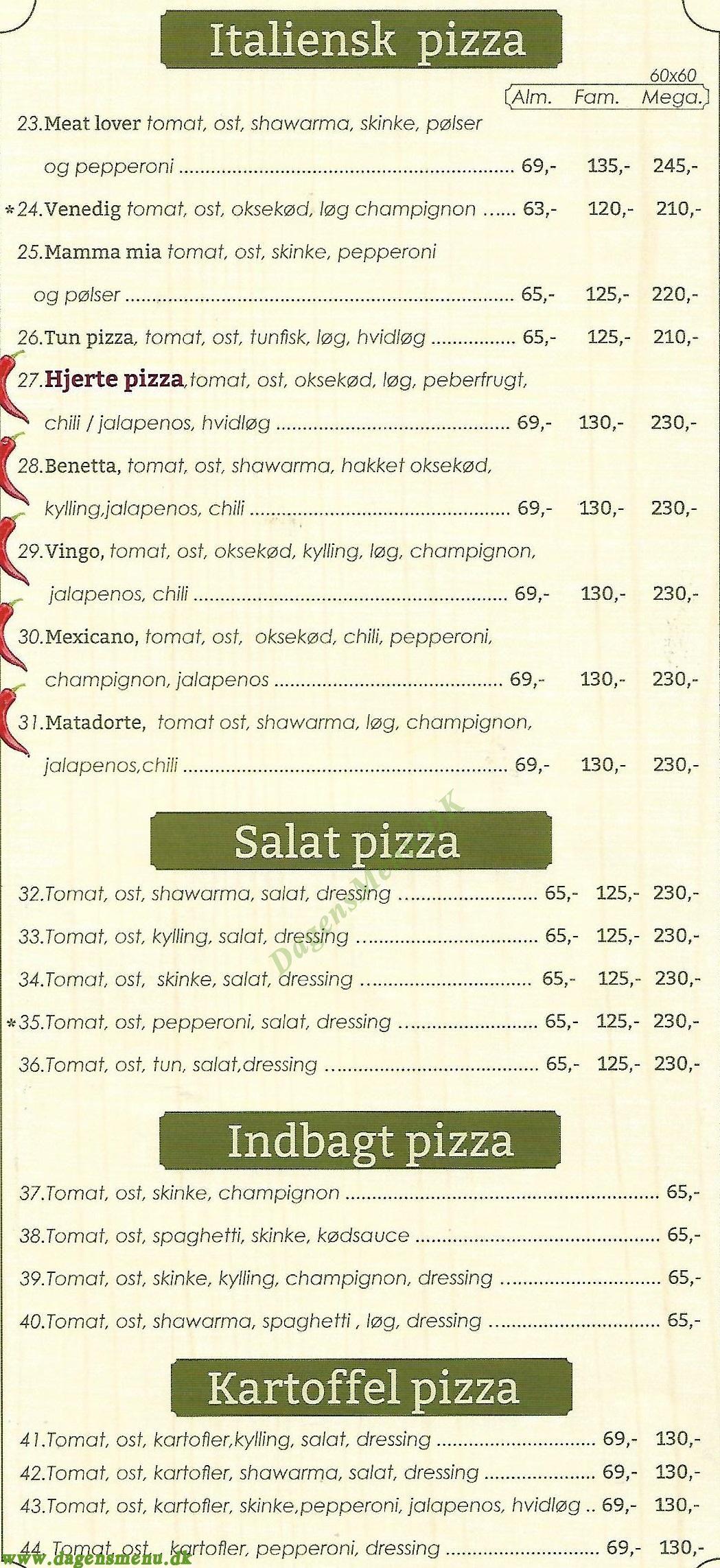 Pizzeria La Pino - Menukort