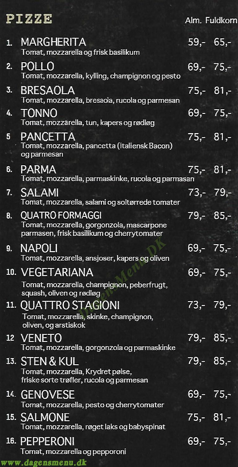 Sten & Kul Pizza - Menukort