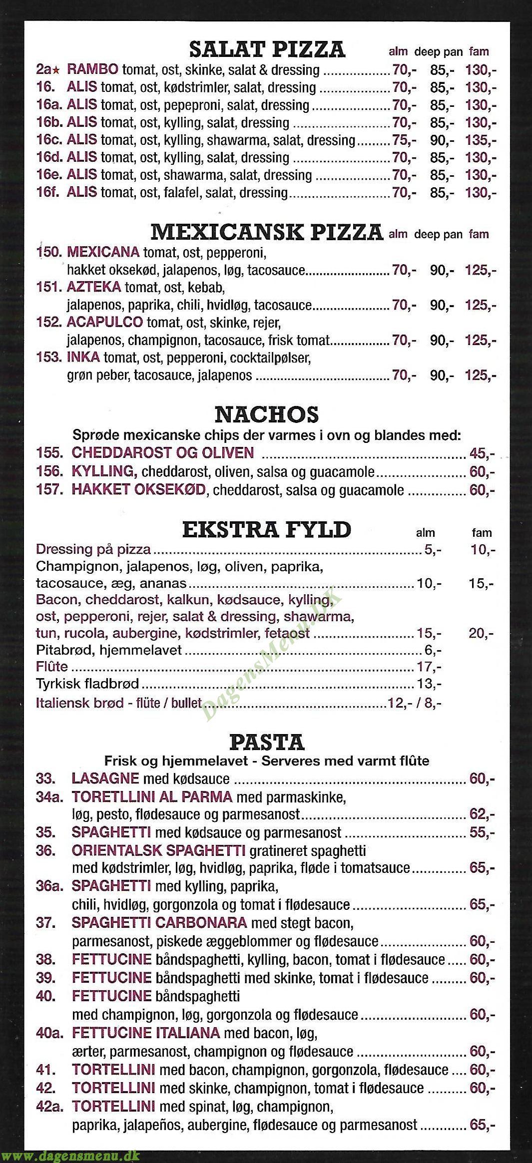 Orientalsk Pizzaria - Menukort