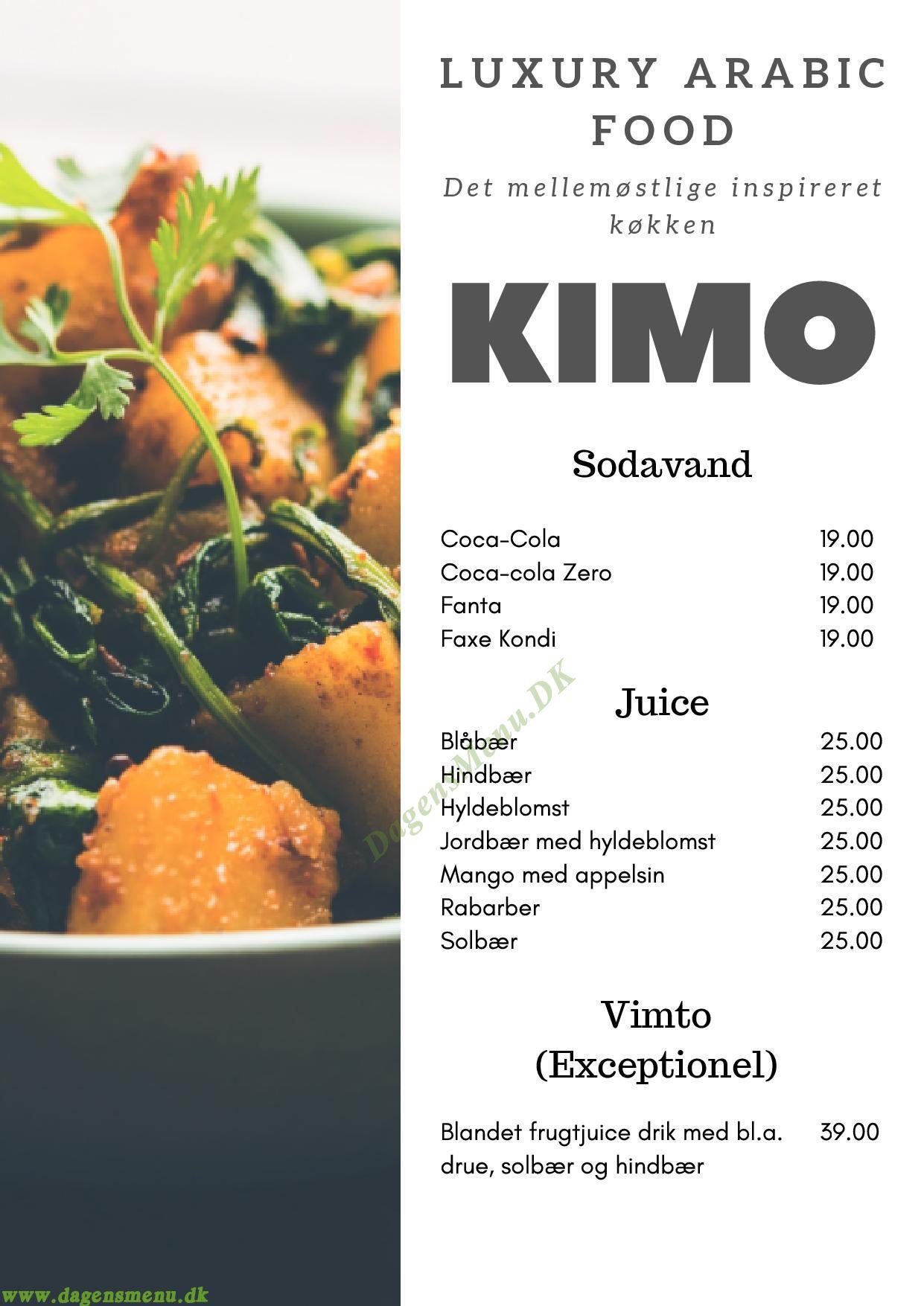 Kimo - Arabic Luxury Food - Menukort