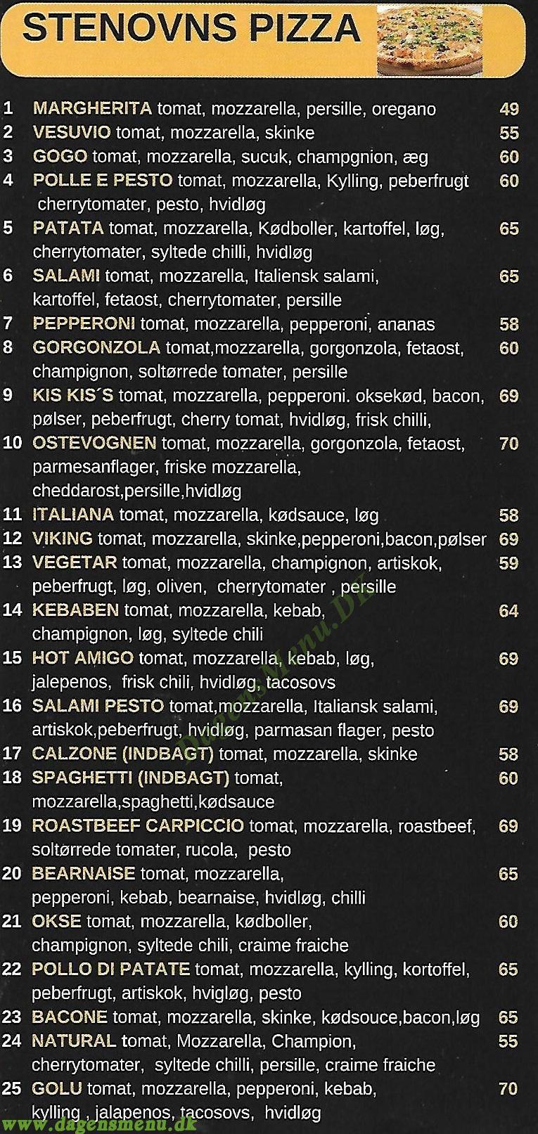 PizzaTit - Stenovn - Menukort