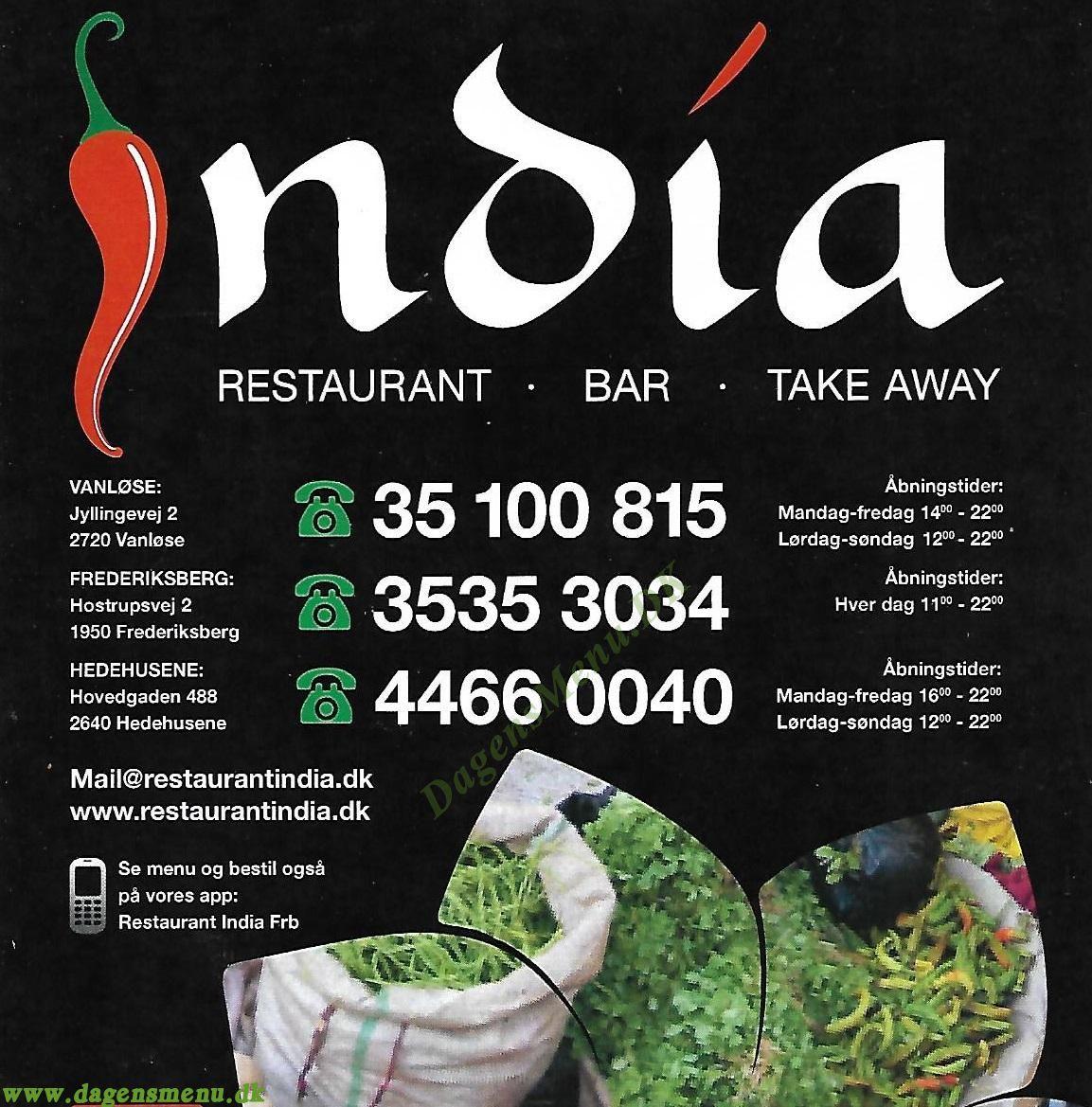 Restaurant India Hedehusene - Menukort