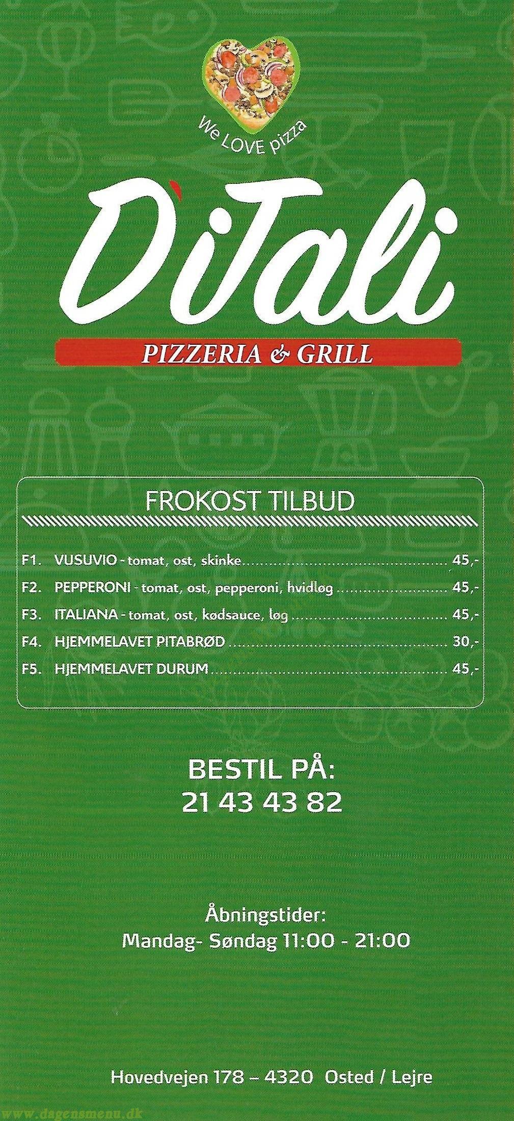 DiTali - Pizzeria & Grill - Menukort