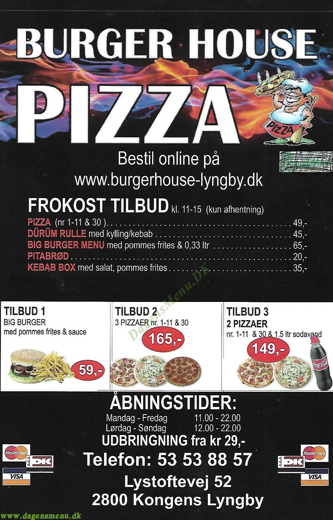 Burger House Pizza - Menukort