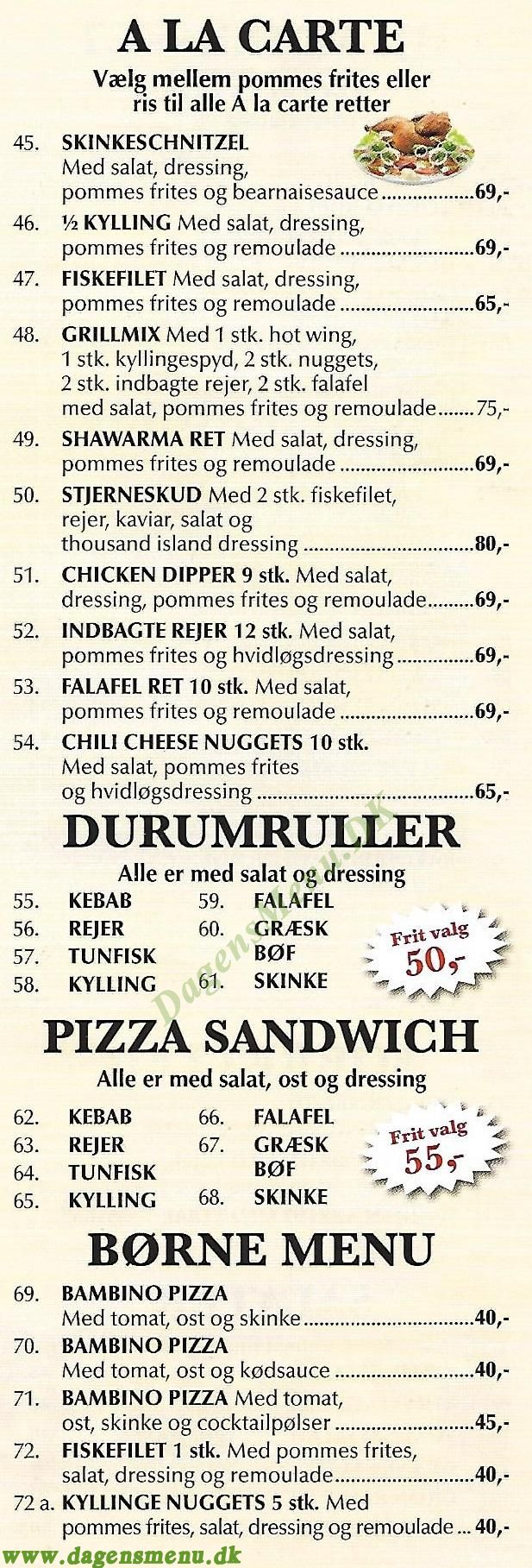 Præstø Pizza House - Menukort