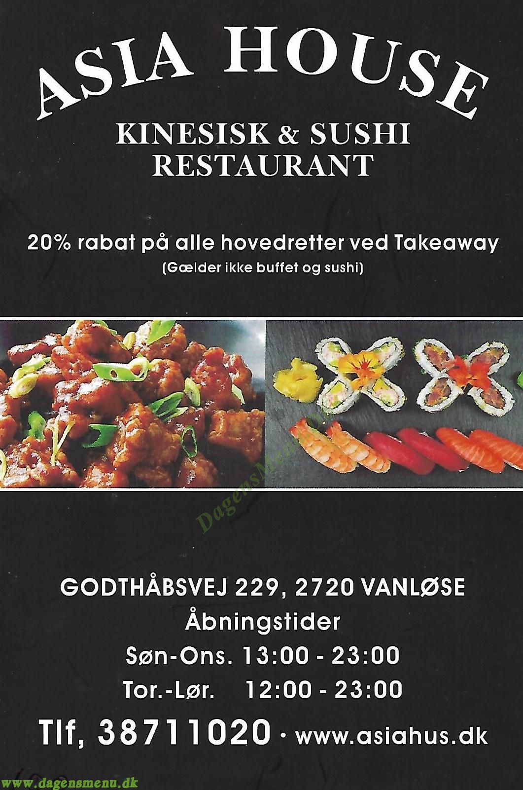 Restaurant Asia House - Menukort