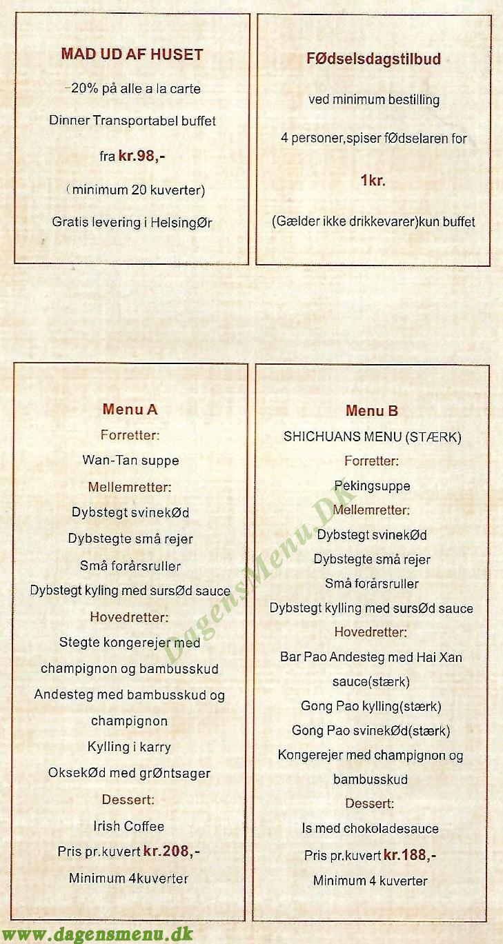 Hai Yi Kinesisk Restaurant - Menukort
