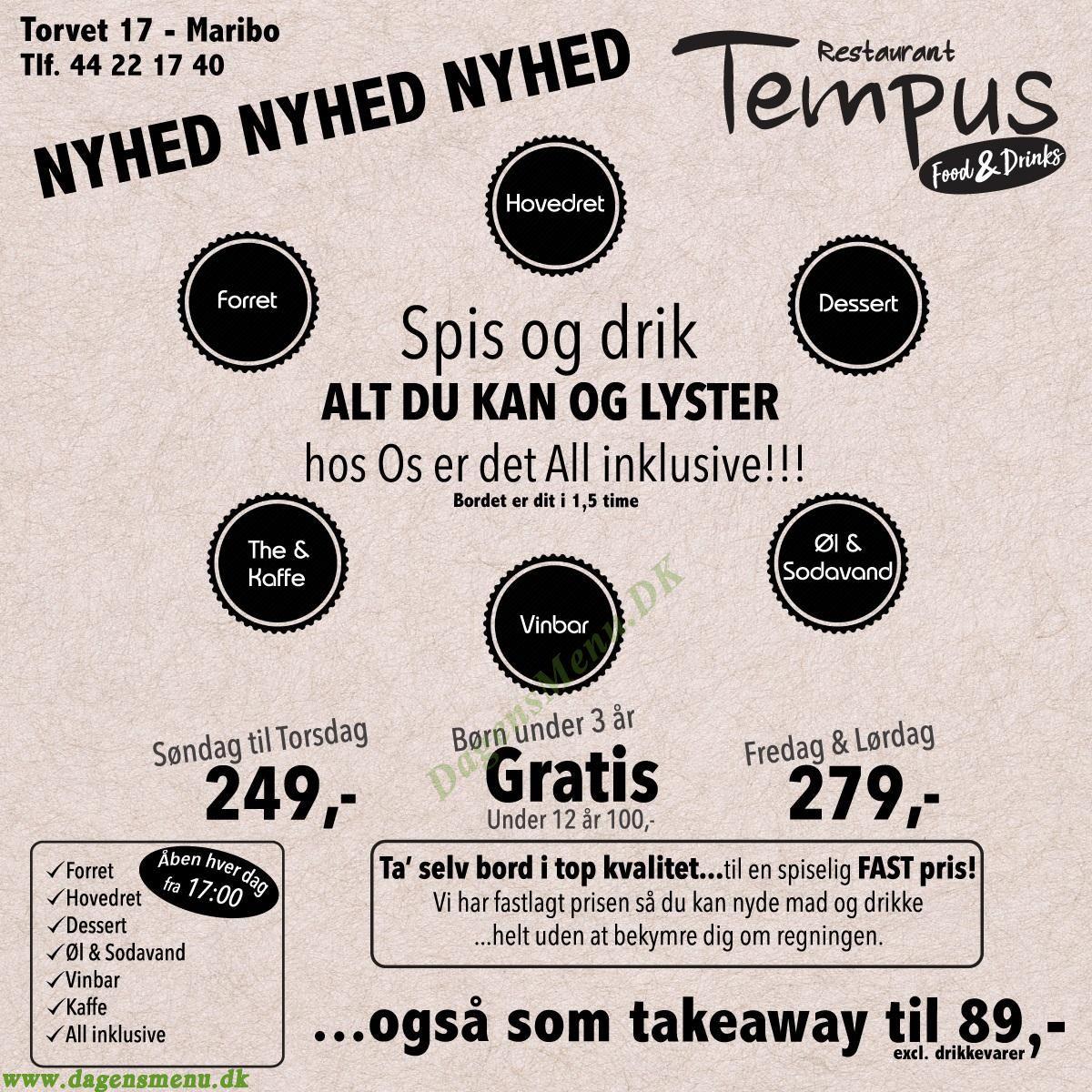 Restaurant Tempus - Menukort