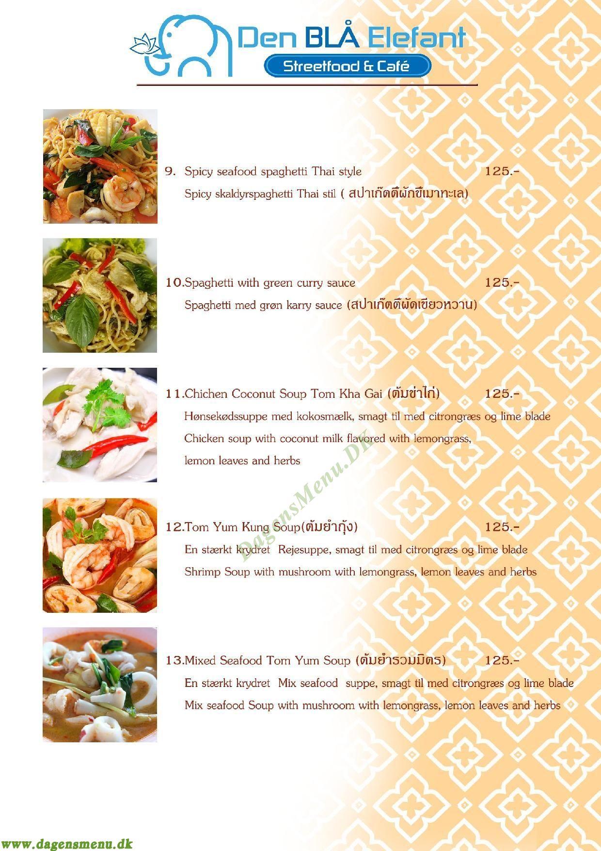 Den Blå Elefant - Thai Restaurant - Menukort