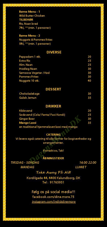 Indisk DineMore Restaurant - Menukort