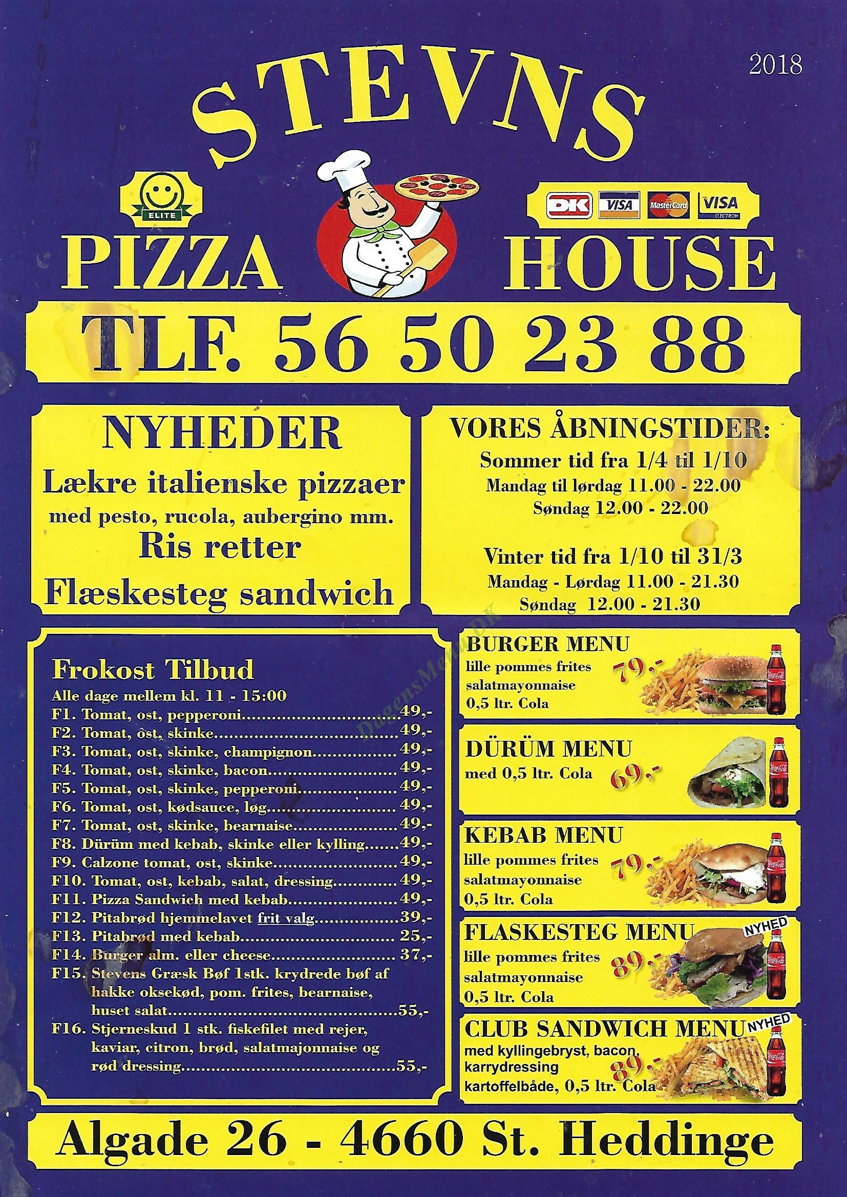 Stevns Pizza House - Menukort