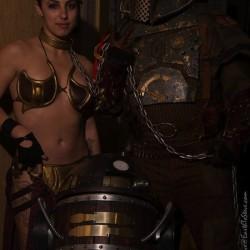 Steampunk meets Star Wars cosplay: Slave Leia, R2-D2 and Boba Fett