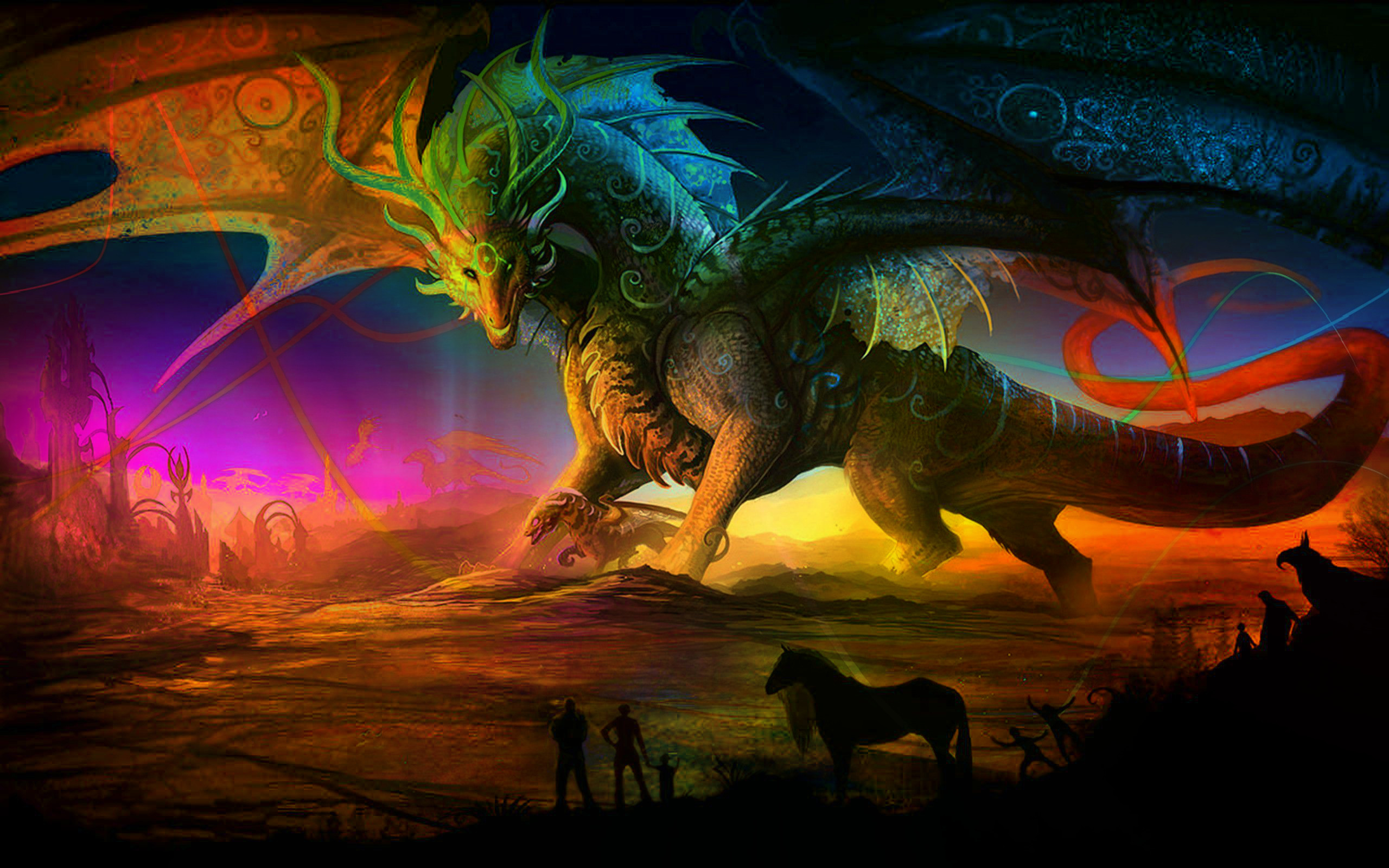 214 fantasy wallpapers castles sorcery dragons and maidens - Dragon wallpaper 3d ...