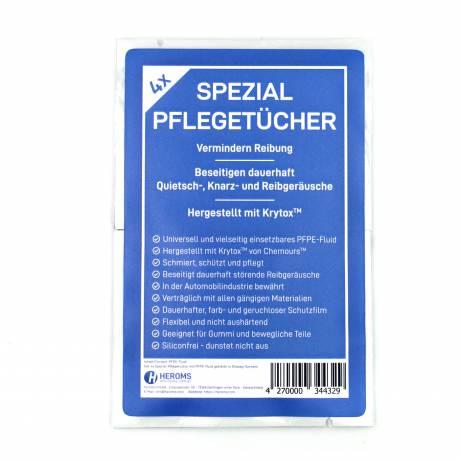 Spezial-Pflegetücher mit PFPE-Fluid (Krytox™) getränkt (4er Set) in Sachets
