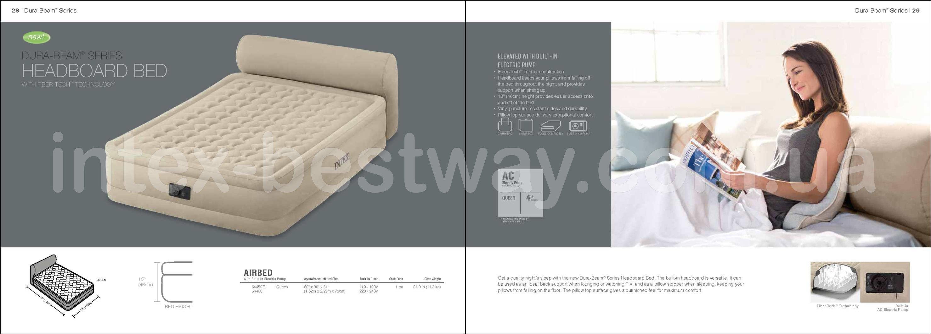Двуспальная надувная кровать Intex 64460 + встроенный электронасос 220V Headboard Bed With Fiber-Tech Technology