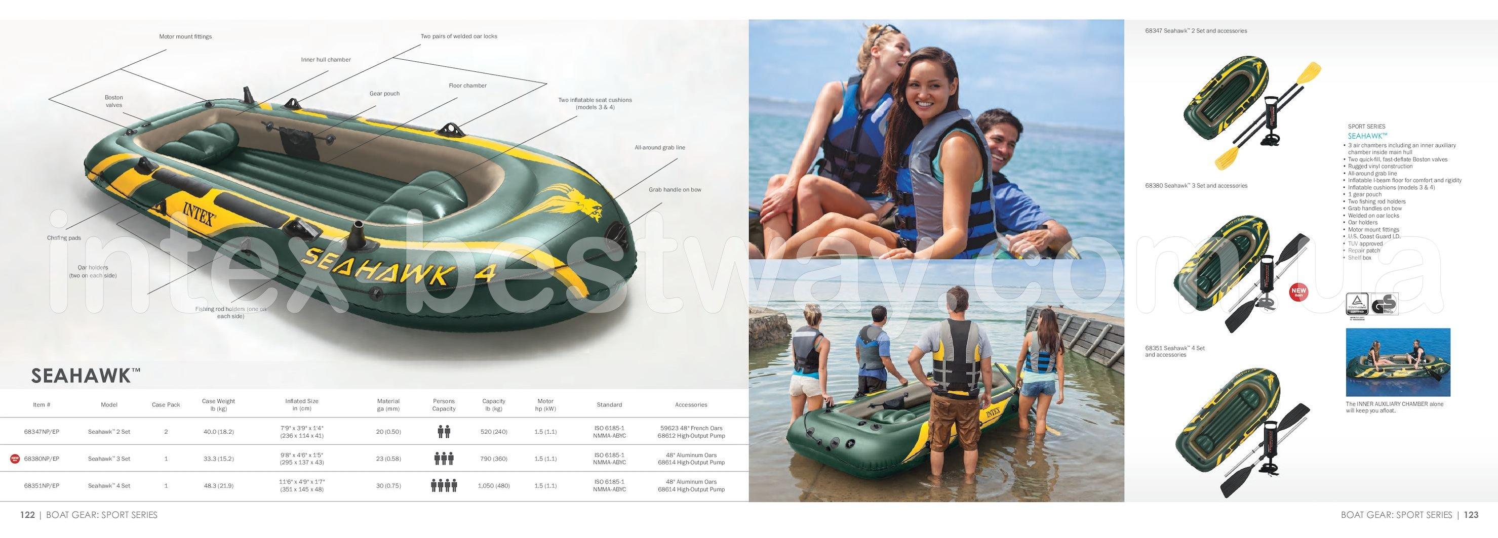 Трехместная надувная лодка Intex 68380 SeaHawk 3 Set