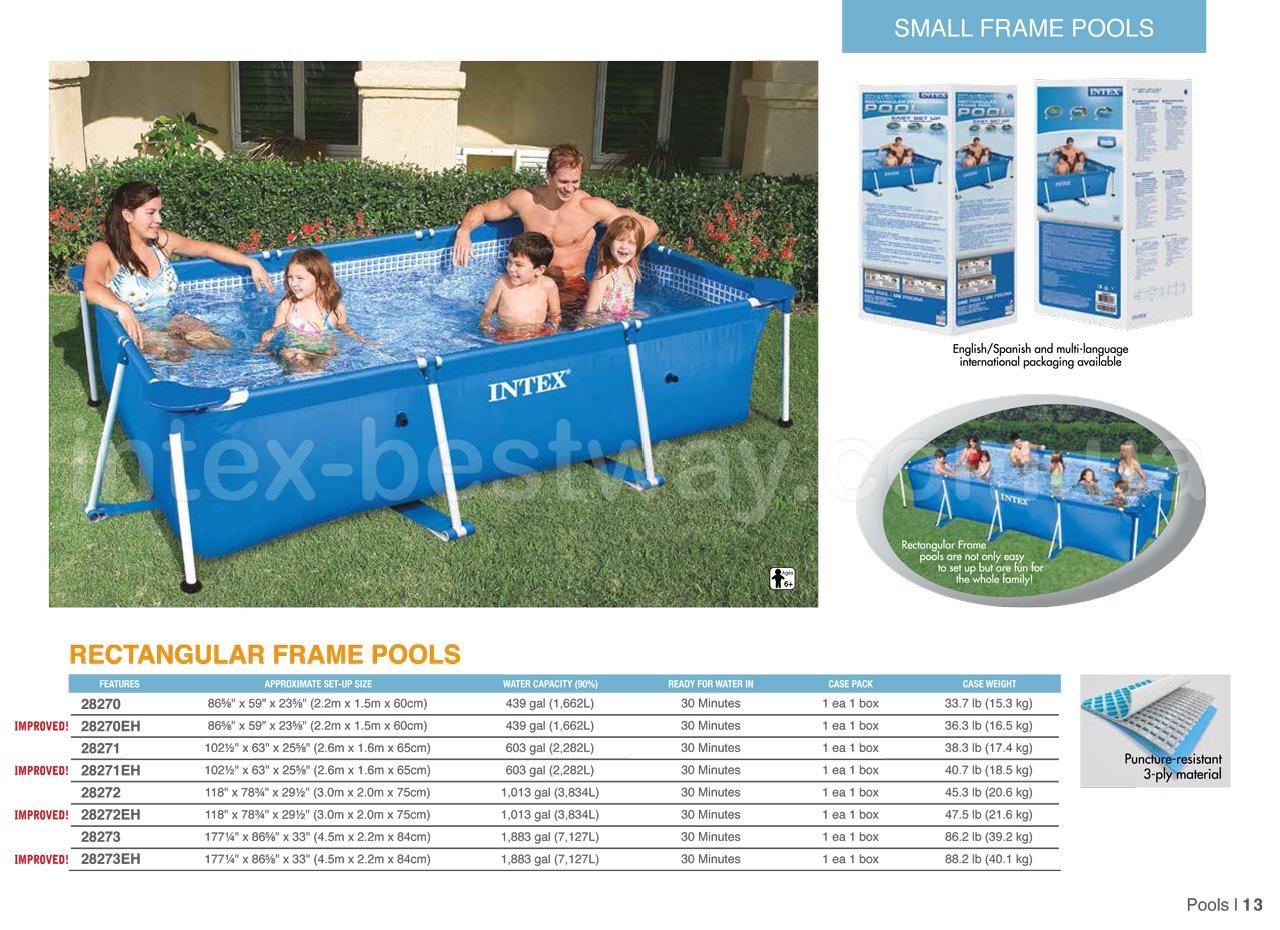 Прямоугольный каркасный бассейн Intex 28272 Rectangular Frame Pool (Интекс 58981)