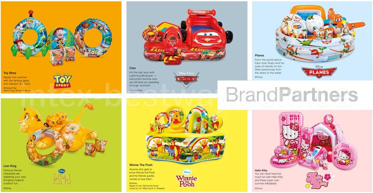 Надувные изделия Intex: История игрушек, Тачки, Литачки, Король Лев, Винни Пух, Hello Kitty