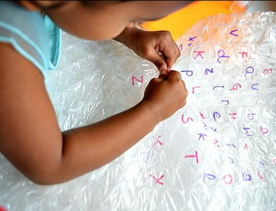 Bubble Wrap Letter Matching @ Dubai
