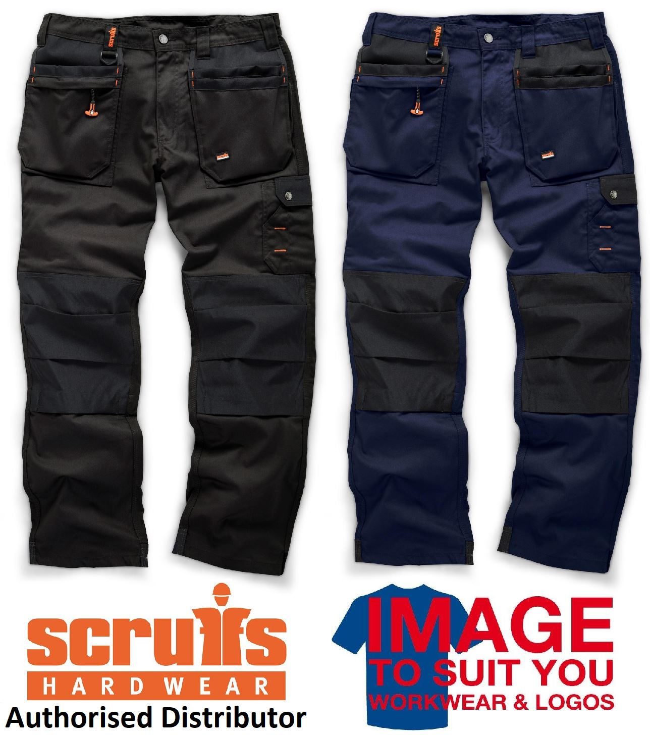 Scruffs Worker Plus Trousers Black Navy Size 28-38 With Free Knee Pad Or Belt