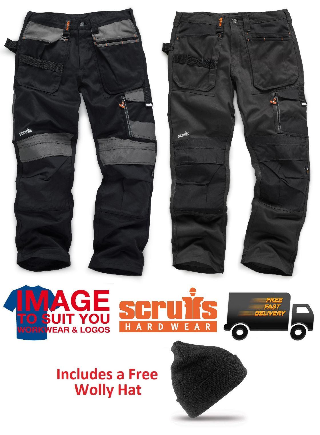 SCRUFFS Work Trousers 3D TRADE Hard-Wearing Knee Pad Pockets FREE KNEE PADS