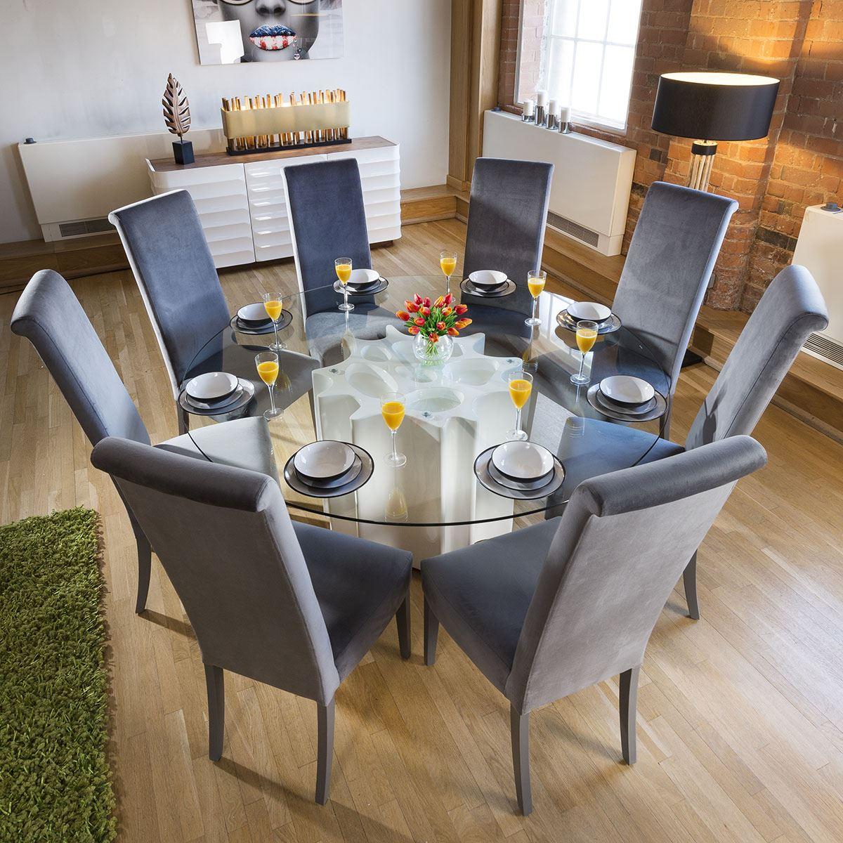 Round Glass Top White Gloss Dining Table 8 Grey Velvet High Back Chair Ebay