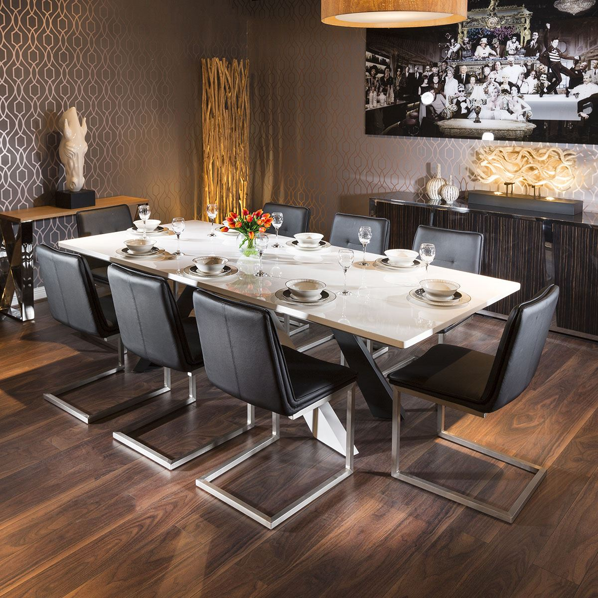 Large White Dining Boardroom Table 240x110 8 Black Low Backed Chairs Ebay