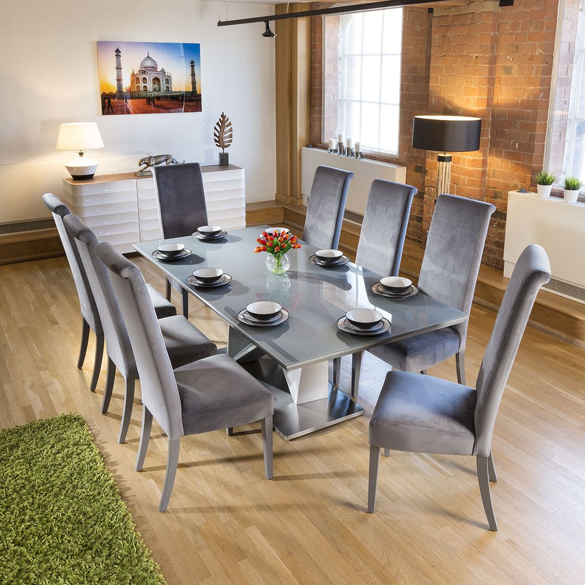 Large 8 Seater Dining Set 2 2mt Grey Glass Table 8 Tall Grey Chairs Ebay