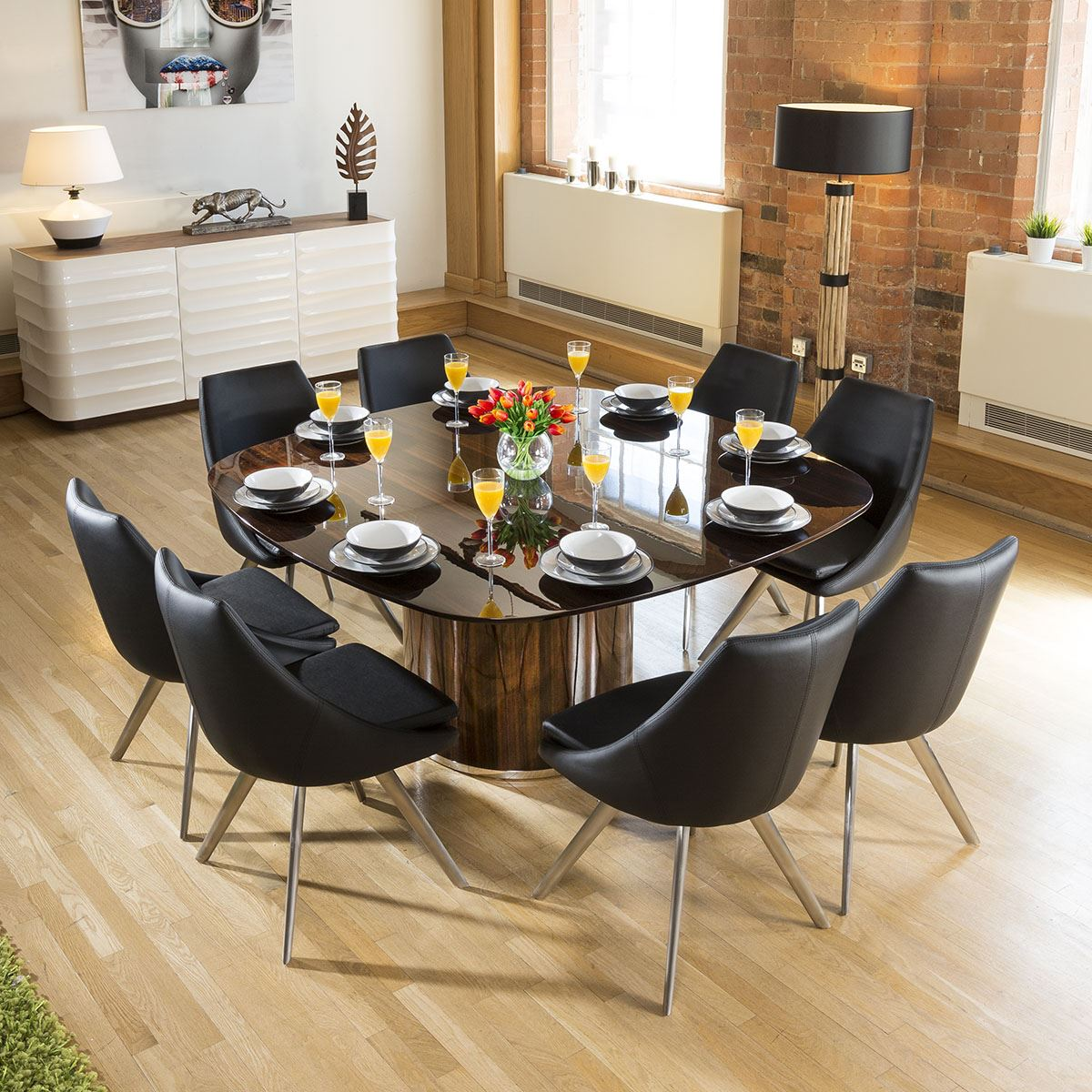 Large Luxury Square Eucalyptus Dining Table 8 Black Modern Chairs Ebay