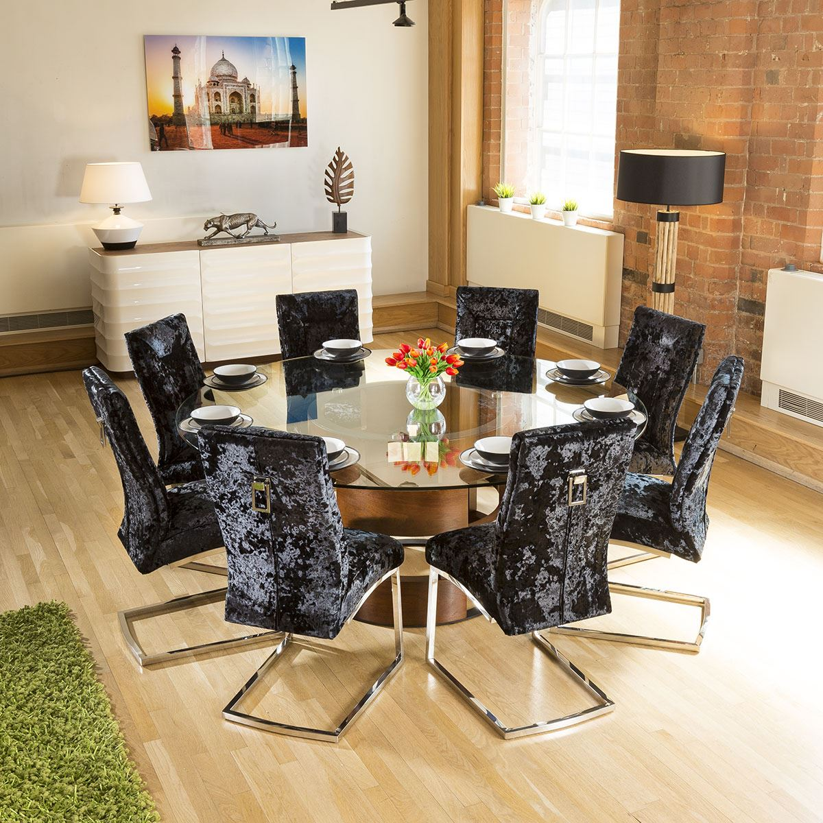 Round Glass Top Walnut Dining Table 8 Black Crushed Velvet Chairs 719034687995 Ebay