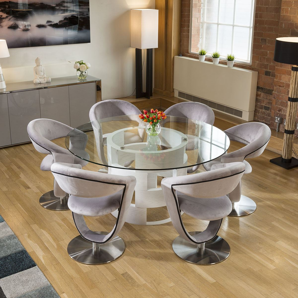 Round 1 6 Glass Top White Oak Dining Table 6 Grey Velvet Swivel Chairs Ebay