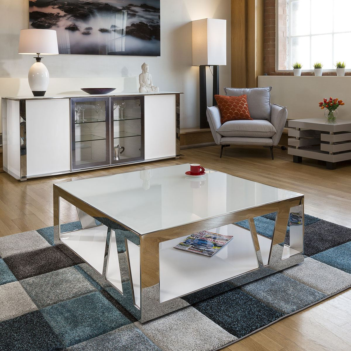 Modern Luxury Large Square White Coffee Table Glass Stainless Steel V Ebay