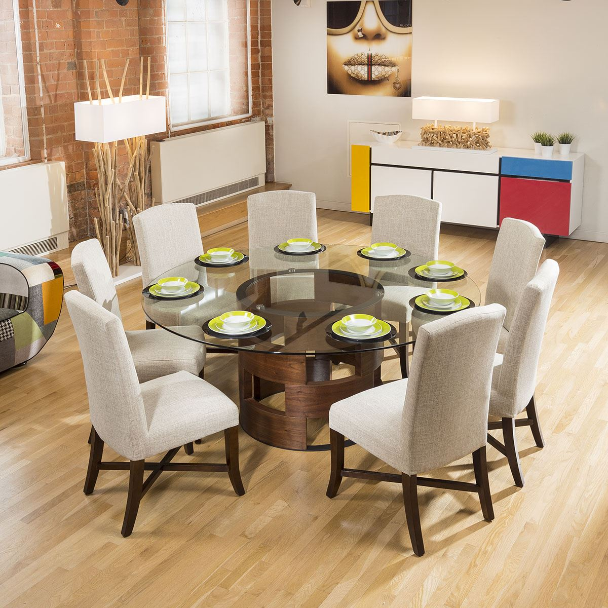 Large Round Glass Top Walnut Dining Table Set 8 Natural Walcot Chairs 740120045085 Ebay