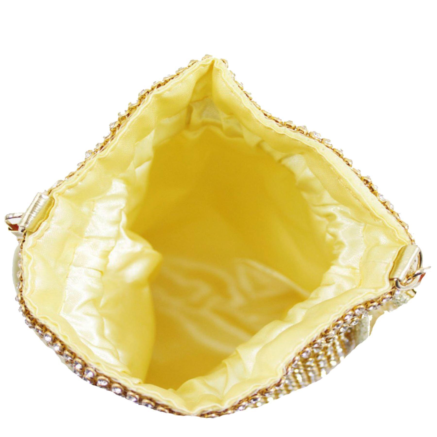 New-Ladies-Rhinestone-Diamante-Drawstring-Chain-Strap-Pouch-Bag thumbnail 5