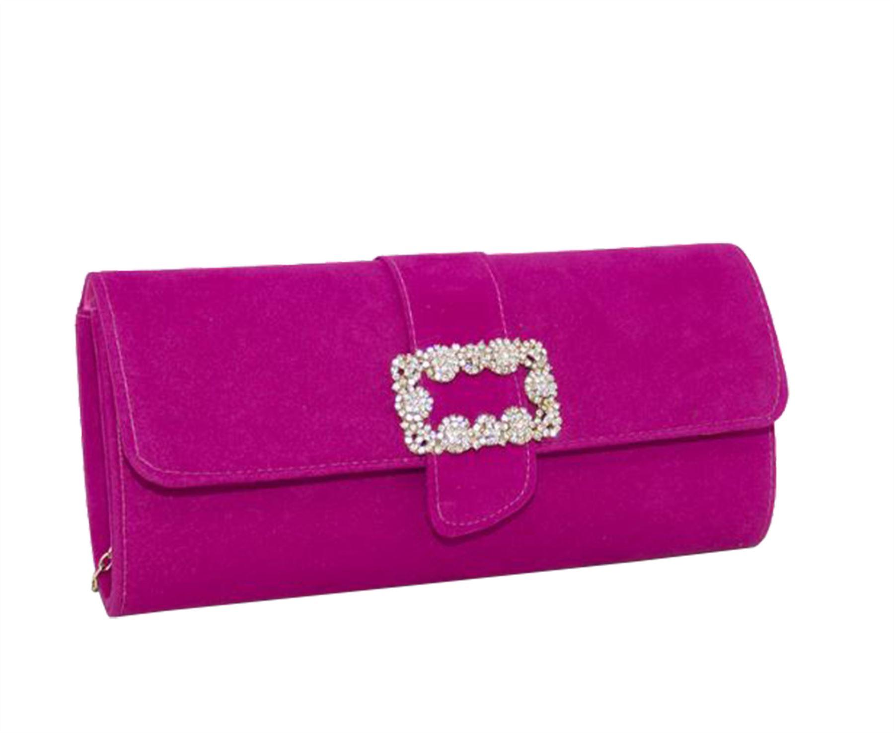 New Diamante Buckle Detail Women's Evening Velvet Clutch Bag Purse