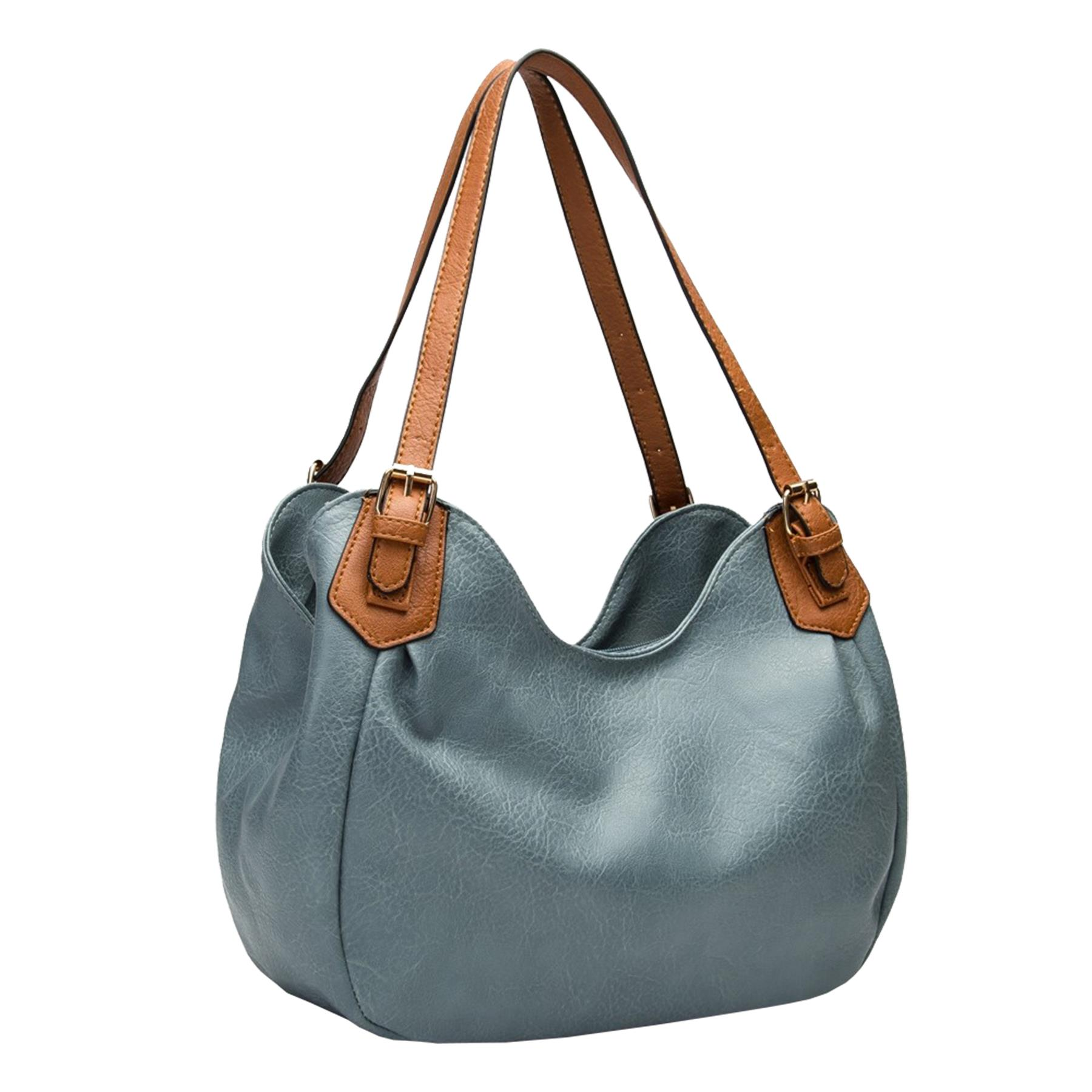 New-Ladies-Buckled-Straps-Two-Toned-Faux-Leather-Slouchy-Shoulder-Bag thumbnail 6